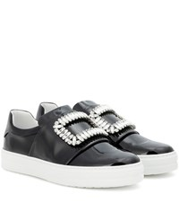 Roger Vivier Sneaky Viv Embellished Patent Leather Sneakers Black