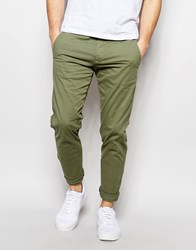 Selected Homme Chinos In Skinny Fit Olive