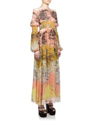 Giamba Printed Silk Peasant Maxi Dress Yellow Multi