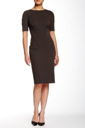 Zac Posen Ariel Short Sleeve Sheath Dress Brown