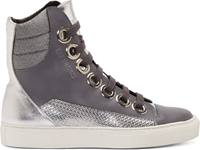Raf Simons Sterling Ruby Grey And Silver Paneled High Top Sneakers