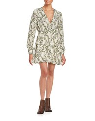 Free People Floral Print Long Sleeve Mini Dress White