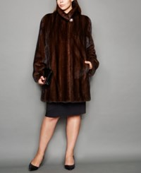 The Fur Vault Plus Size Three Quarter Length Mink Fur Coat