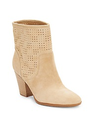 Enzo Angiolini Gettup Laser Cut Suede Ankle Boots Light Natural