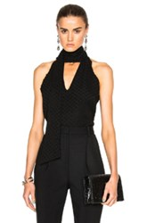 Prabal Gurung Cotton Silk Fil Coupe Tie Neck Blouse In Black