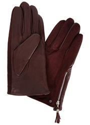 Dents Bordeaux Calf Hair And Leather Gloves
