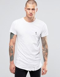 Religion Longline T Shirt With Curved Hem And Rip Detail White