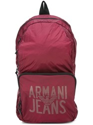 Armani Jeans Logo Print Backpack Red