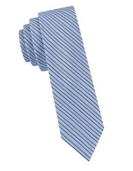William Rast Silk Cotton Stripe Tie Blue