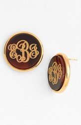 Women's Moon And Lola 'Vineyard' Personalized Monogram Stud Earrings Tortoise