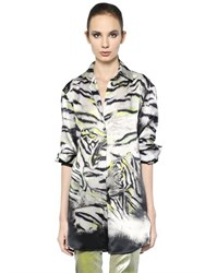 Just Cavalli Tiger Printed Silk Crepe De Chine Shirt