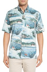 Reyn Spooner Men's 'Avalon By The Sea' Wrinkle Free Print Sport Shirt Denim