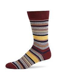 Saks Fifth Avenue Jape Thin Stripe Crew Socks Burgundy