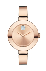 Movado 'Bold' Crystal Accent Bangle Watch 34Mm Rose Gold