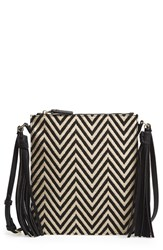 Big Buddha Woven Crossbody Bag Black Zigzag