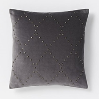 Studded Velvet Ogee Pillow Cover Iron West Elm