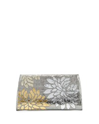 Nancy Gonzalez Slicer Metallic Crocodile Flower Clutch Bag Anthracite