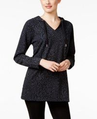 Styleandco. Style Co. Animal Print Jacquard Hoodie Only At Macy's Deep Black
