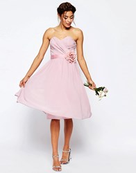 Asos Wedding Chiffon Midi Bandeau Dress With Detachable Corsage Belt Nude Pink
