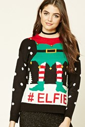 Forever 21 Elfie Graphic Holiday Sweater Black Cream