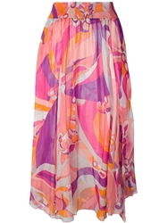 Emilio Pucci Abstract Print Long Skirt Yellow And Orange