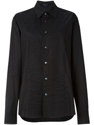 Ann Demeulemeester Blanche Pleated Bib Oversized Shirt Black
