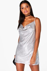 Boohoo Sequin Cowl Front Strappy Slip Dress Silver