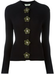 Fendi Flower Applique Cardigan Black
