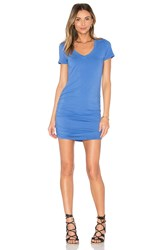 Michael Stars V Neck Rouched Shirt Dress Blue