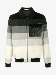 J.W.Anderson Wool And Leather Striped Bomber Jacket Black Multi Coloured White