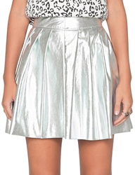 Pixie Market Silver Pleated Skirt