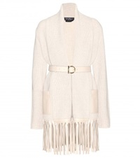 Salvatore Ferragamo Wool And Cashmere Cardigan With Leather Belt Neutrals