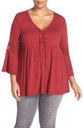 Bobeau Plus Size Women's Lace Inset Bell Sleeve Jersey Top Berry