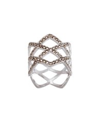 Lord And Taylor Marcasite Open Diamond Design Ring Silver