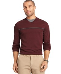 Van Heusen Interlock Stripe V Neck Sweater Red Rhubarb