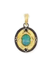 Old World 18K Gold Shield Pendant W Malachite Rainbow Moonstone Doublet Armenta