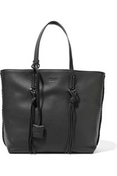 Tod's Gypsy Whipstitched Textured Leather Tote Black