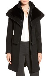Soia And Kyo Women's Multilayer Bib Wool Blend Coat With Faux Fur Trim