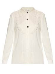 Miu Miu Crepe Shirt With Silk Organza Trim Ivory