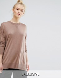 Monki Oversized Fine Knit Jumper Camel Beige