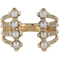 Jennie Kwon Women's Pave Diamond Pearl And Gold Cuff Ring No Color