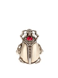 Alexander Mcqueen Crystal Embellished Beetle Ring Gold Multi