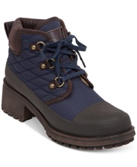 Lucky Brand Women's Akonn Short Lace Up Faux Fur Hiker Booties Women's Shoes Navy