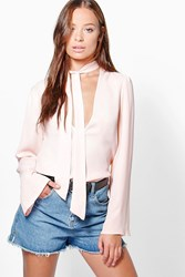 Boohoo Pussy Bow Plunge Blouse Nude
