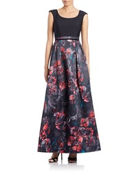 Kay Unger Floral Print Skirt A Line Gown Black Multi