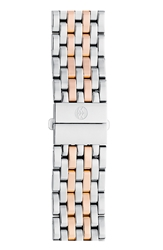 Michele 'Deco' 18Mm Stainless Steel Bracelet Watch Band Silver Rose Gold