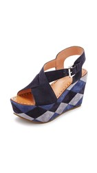Sigerson Morrison Gella Wedge Sandals Navy Multi