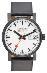Men's Mondaine ' Black White Evo Lution Sbb' Leather Strap Watch 30Mm