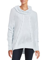 Ivanka Trump Cable Knit Cowlneck Sweater Heather Frost