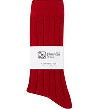Johnstons Ribbed Cashmere Blend Socks Chianti Red
